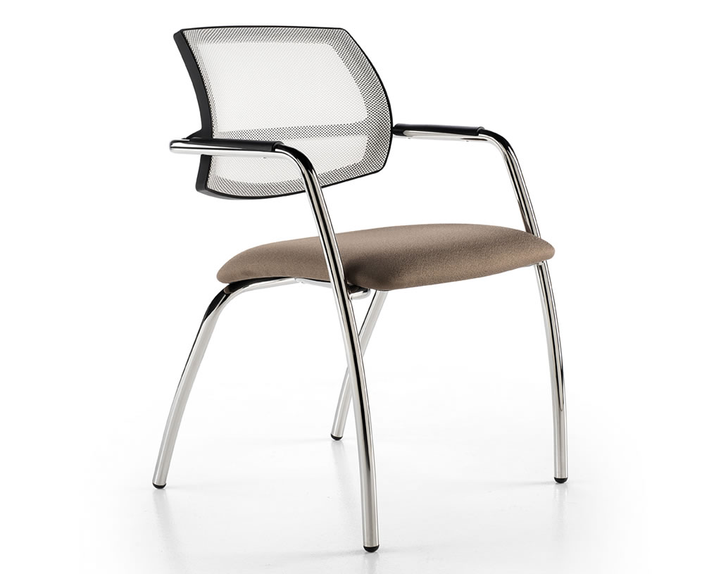 Planoffice-Arredo-per-ufficio-linea-COLORADO-sedia-waiting-struttura-metallo-braccioli-schienale-traspirante-EVIDENZA