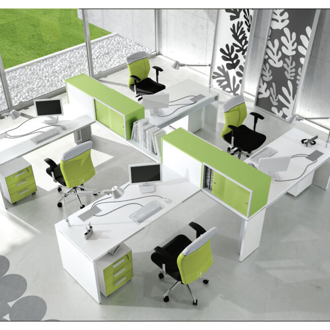 office furniture-Ram-line office desks-operative-desk-in-metal-white-and-container-green