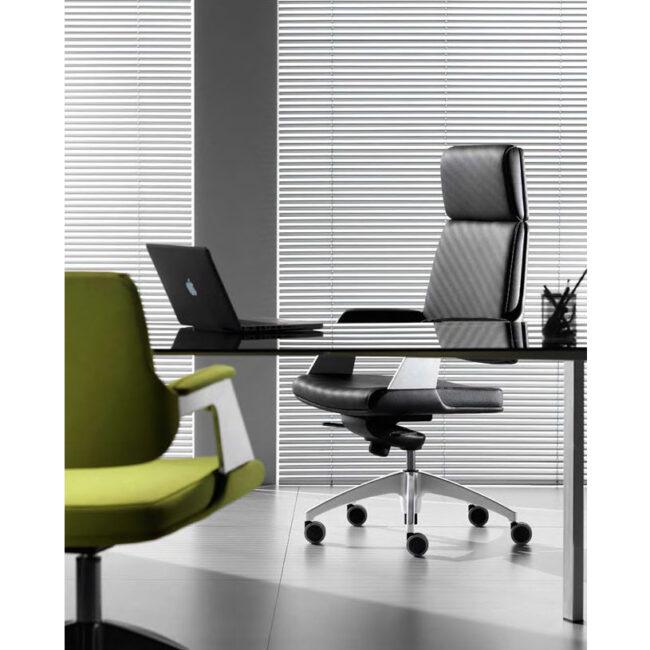 Avangard-sedie-in-pelle-nera-e-verde