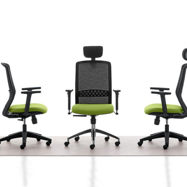 ODEON-poltrona-operativa-seduta-verde-schienale-ergonomico-poggiatesta