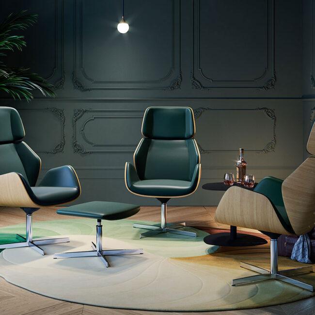 Praga-Wood-sedie-executive-poltrona-base-legno-castagno-imbottite-con-pelle-verde-scuro