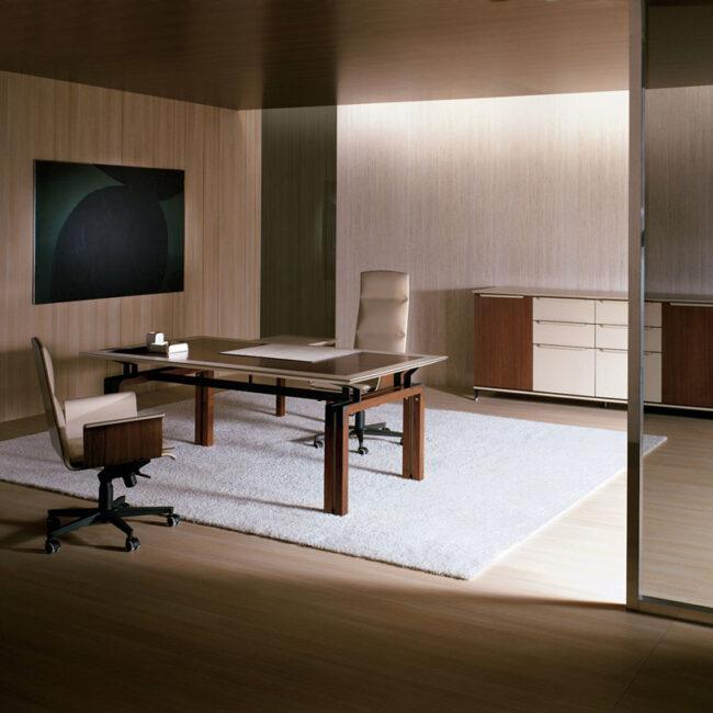 Prestige-tavoli-riunione-scrivania-in-metallo-lucido-bianco-e-legno